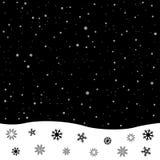 Black and white snowdrift. Falling snow. Black and white winter snowdrift. Christmas decoration snowflake Royalty Free Stock Photo