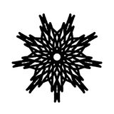 Black and white snowflake abstract design stock illustration