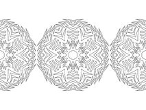 Black and white snowflake for coloring book. Seamless Christmas pattern. Stock Photography