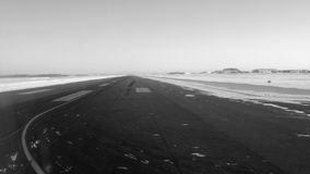 Black and White snowy take off. In the winter Royalty Free Stock Photos