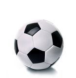 Black and white soccer ball. On the white background Royalty Free Stock Photo