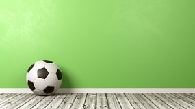 Black and White Soccer Ball with Copyspace. Classic Black and White Soccer Ball on Wooden Floor Against Green Wall with Copyspace 3D Illustration royalty free illustration
