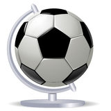 Black and white soccer ball or football and globus Stock Images