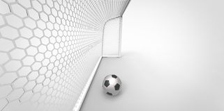 A black and white soccer ball football and a goal post Royalty Free Stock Images