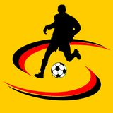 Black and white soccer ball or football and silhouette of a soccer player. Graphic, white background Royalty Free Stock Image