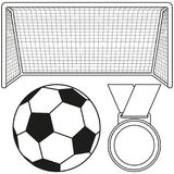 Black and white soccer ball, gate, medal icon set. Sport vector illustration for gift card, flayer, certificate banner, icon, logo, patch sticker Stock Photos