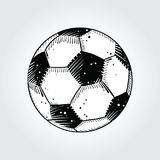 Black and white soccer ball. With signs of use Royalty Free Stock Photography