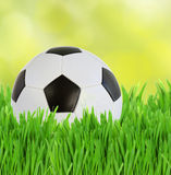 Soccer ball in grass stock photo
