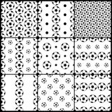 Black and white soccer balls seamless patterns for fifa world cup set, vector. Background Royalty Free Stock Images