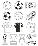 Black and white soccer 14 elements set. Sport vector illustration for icon, sticker sign, patch, certificate badge, gift card, stamp logo, label, poster, web royalty free illustration