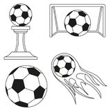 Black and white soccer goals set. Sport vector illustration for icon, sticker sign, patch, certificate badge, gift card, stamp logo, label, poster, web banner Stock Images