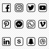 Black and white Social media Icons on transparent background vector high quality set