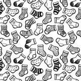 Black white socks seamless pattern Stock Photos