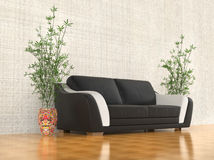 Black and white sofa - angled view. Black and white sofa in a warm living room Royalty Free Stock Photography