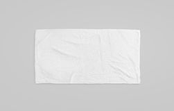 Black white soft beach towel mockup. Clear unfolded wiper. Mock up laying on the floor. Shaggy fur bath textured jack-towel top view. Domestic cloth kitchen Royalty Free Stock Image