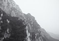 Black and White Songshan Mountain Range and sanhuang plank walkway China. A black and white picture of the mountainous area and landscape of Songshan or Mount stock image