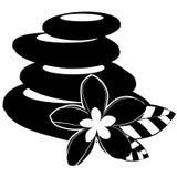 Black-and-white spa geïsoleerdez stenen en bloemen Stock Afbeeldingen