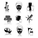 Black and white spa icons set Royalty Free Stock Image