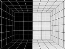 Black and white space with perspective grid , 3d Stock Photos