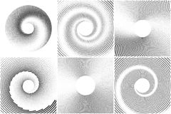 Black and white spiral abstract halftone dots background set. Vector illustration Stock Images