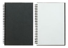 Black and white spiral notebook. Isolated on white with clipping path Royalty Free Stock Image