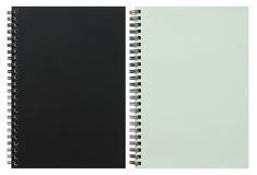 Black and white spiral notebook isolated on white Royalty Free Stock Image