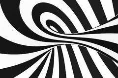 Black and white spiral tunnel. Striped twisted hypnotic optical illusion. Abstract background. 3D render. Fantastic infinite wallpaper stock illustration