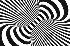 Black and white spiral tunnel. Striped twisted hypnotic optical illusion. Abstract background. 3D render. Fantastic infinite wallpaper royalty free illustration