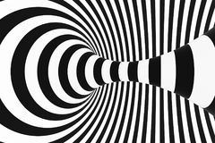 Black and white spiral tunnel. Striped twisted hypnotic optical illusion. Abstract background. 3D render. Fantastic infinite wallpaper vector illustration