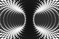 Black and white dotted spiral tunnel. Striped twisted spotted optical illusion. Abstract halftone background. 3D render. Black and white spiral tunnel. Striped vector illustration