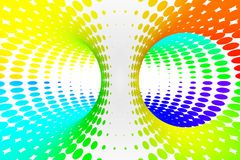 Rainbow dotted spiral tunnel. Striped twisted spotted optical illusion. Abstract white halftone background. 3D render. Black and white spiral tunnel. Striped vector illustration