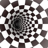 Black and white spiral tunnel. Vector. Illustration Stock Images