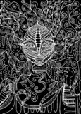 Black and white spirit shaman. Surreal fantasy doodle woman. vector illustration
