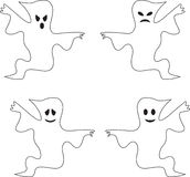 Black and White Spooky Ghost Illustrations. Angry ghosts, smiling ghosts, scary ghosts, Halloween decorative ghost illustrations Stock Photos