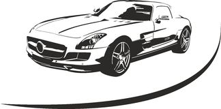 Black and white sport car vector. Silhouette of sport car for  sports suitable for cutter plotter Stock Images