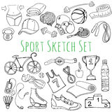 Black and white Sport and fitness seamless doodle icons set Royalty Free Stock Image