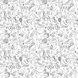 Black and white Sport and fitness seamless doodle pattern Royalty Free Stock Image