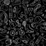 Black and white Sport and fitness seamless doodle pattern Royalty Free Stock Photo