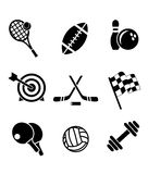 Black and white sporting icons vector illustration