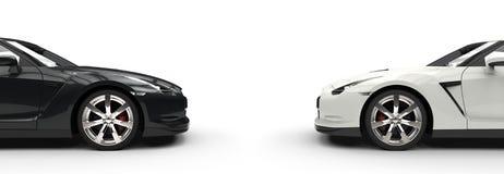Black & White Sports Car - Side View Royalty Free Stock Photo
