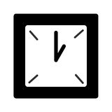 Black and white square clock Stock Photography