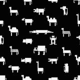 Black and white square digital simple retro animals pattern eps10 Stock Image