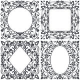 Black and white square floral frames Royalty Free Stock Images