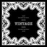 Black and white square lace frame Stock Photography