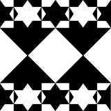 Black and white square tile. Composed of stars and arrows Stock Images