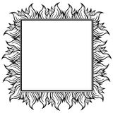 Black white squared frame with spurts of flame. Vector illustration. Rock'n'roll style Stock Photos