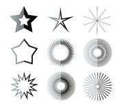 Black and white star shapes Royalty Free Stock Photos
