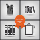 Black and white stationery icons set Stock Images