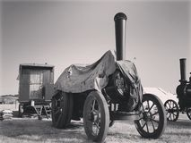 Black and white steam engine covered royalty free stock photos