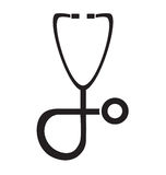 Black and white stethoscope icon vector isolated in white background. Royalty Free Stock Image